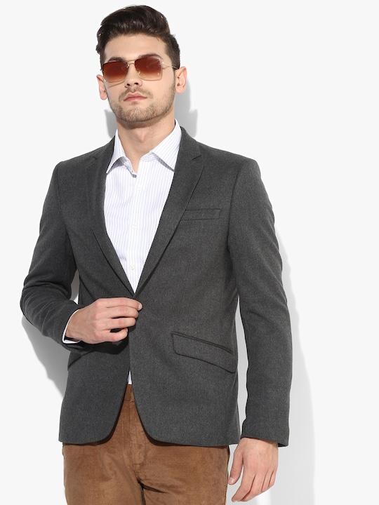 Grey Milange Solid Blazer