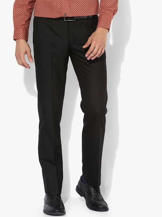 Black Solid Slim Fit Formal Trouser