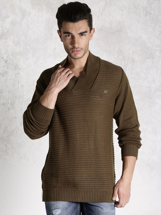 Brown Regular Fit V Neck Sweater