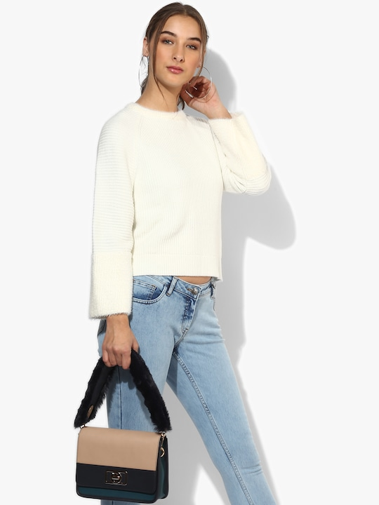 Cream Round Neck Sweater