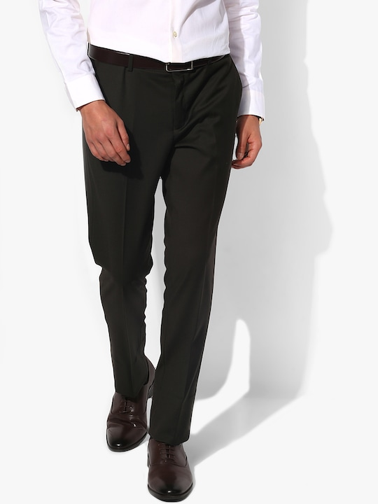 Olive Solid Slim Fit Formal Trousers