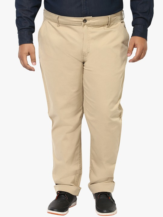 Khaki Solid Regular Fit Chinos