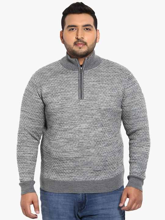 Dark Grey Printed Regular Fit V Neck Sweater