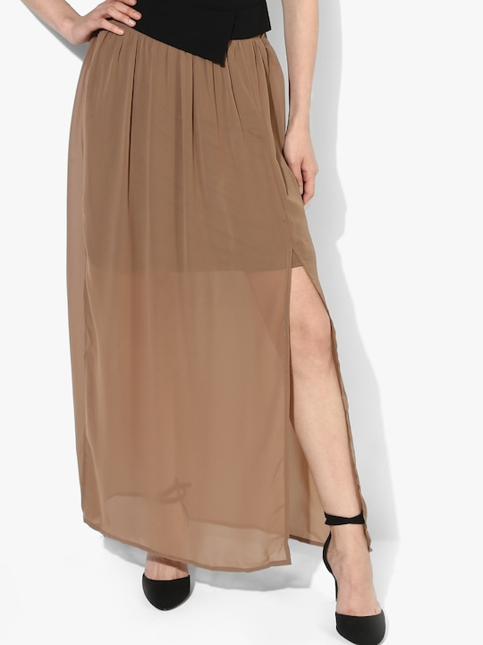 Beige  Flared Skirt