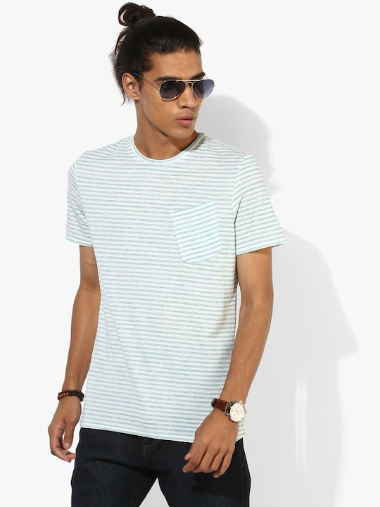 Aqua Blue Striped Round Neck T-Shirt