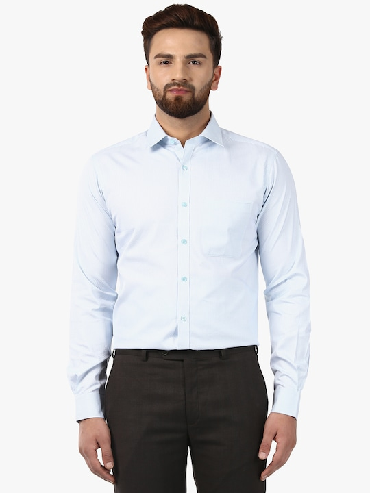 Light Blue Checked Slim Fit Formal Shirt