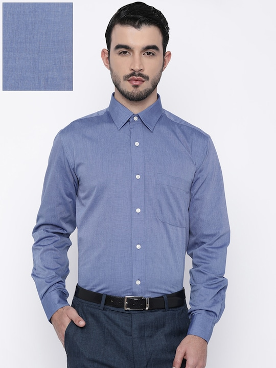 Blue Solid Regular Fit Formal Shirt