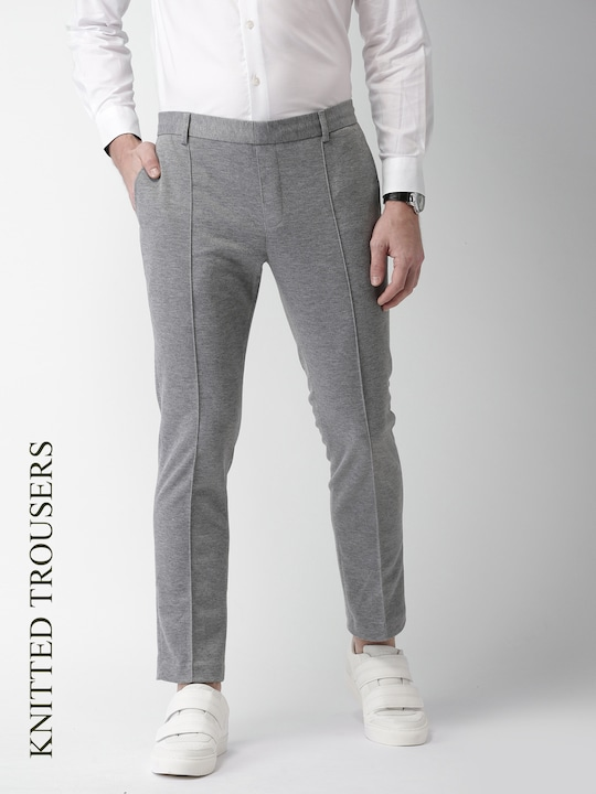 Grey Milange Solid Chinos