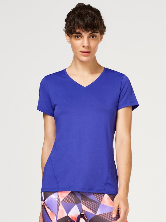 Blue Solid V Neck T-Shirt