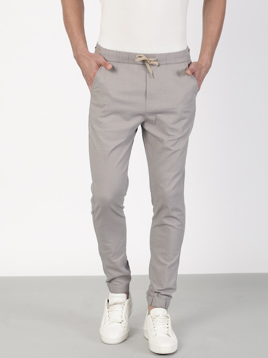 Grey Solid Regular Fit Joggers
