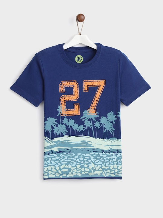 Blue Printed Regular Fit Round Neck T-Shirt