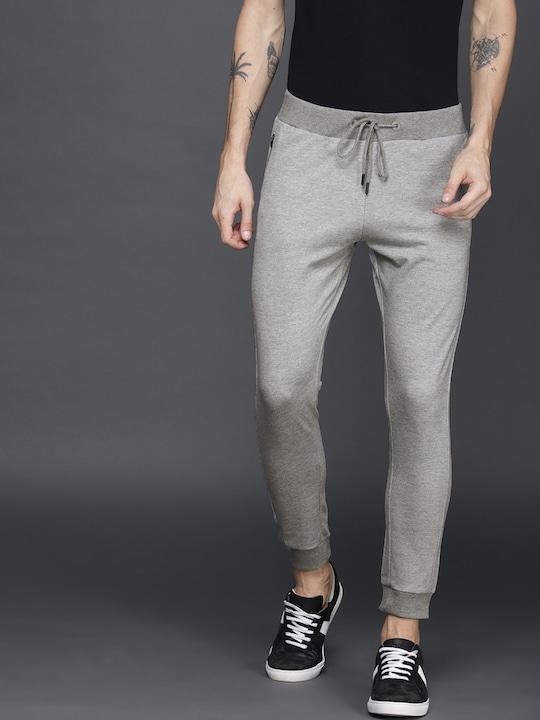 Grey Melange Solid Joggers