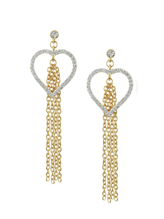 Gold-Plated & Off-White Heart Shaped Drop Earrings
