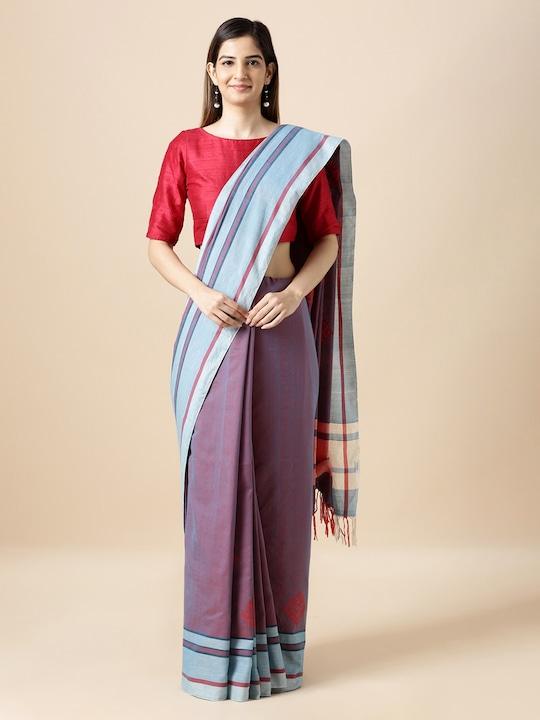 Taneira Purple & Blue Pure Cotton Striped Cotton Bihar Saree