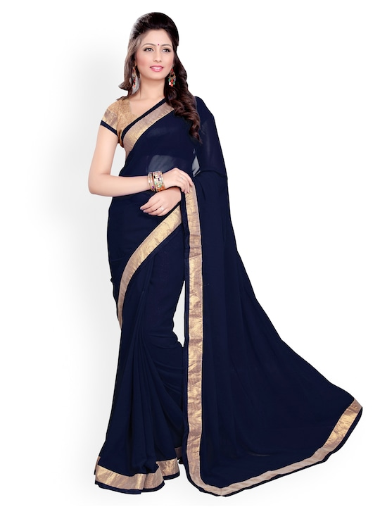 Mirchi Fashion Navy Georgette Fashion Saree