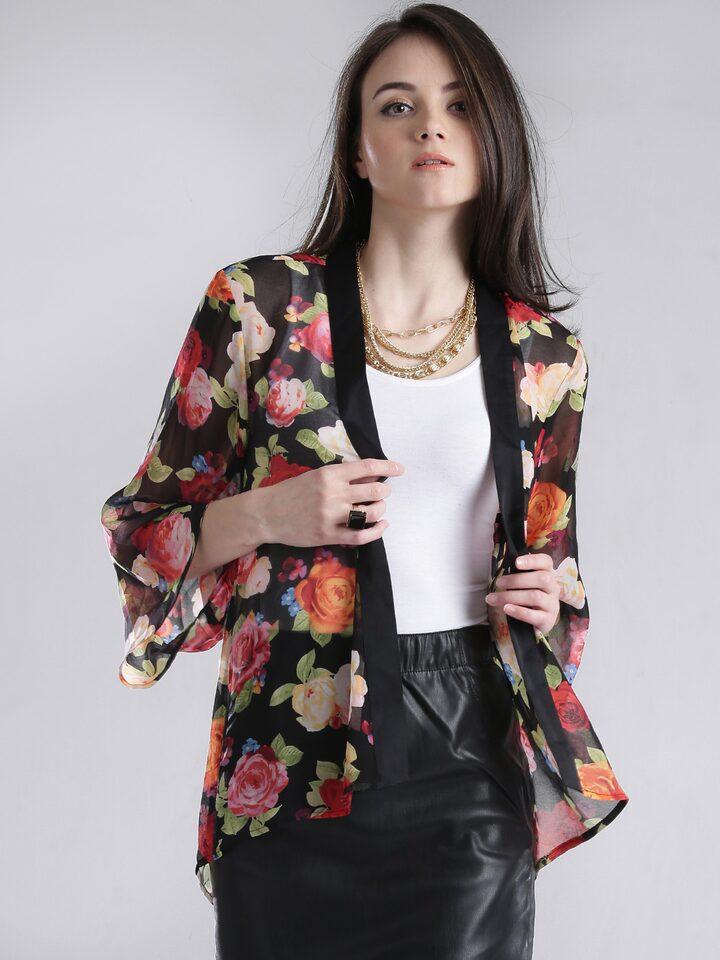 f006d0b73 Buy GUESS Black Semi Sheer Floral Print Shrug - Shrug for Women 1102275    Myntra