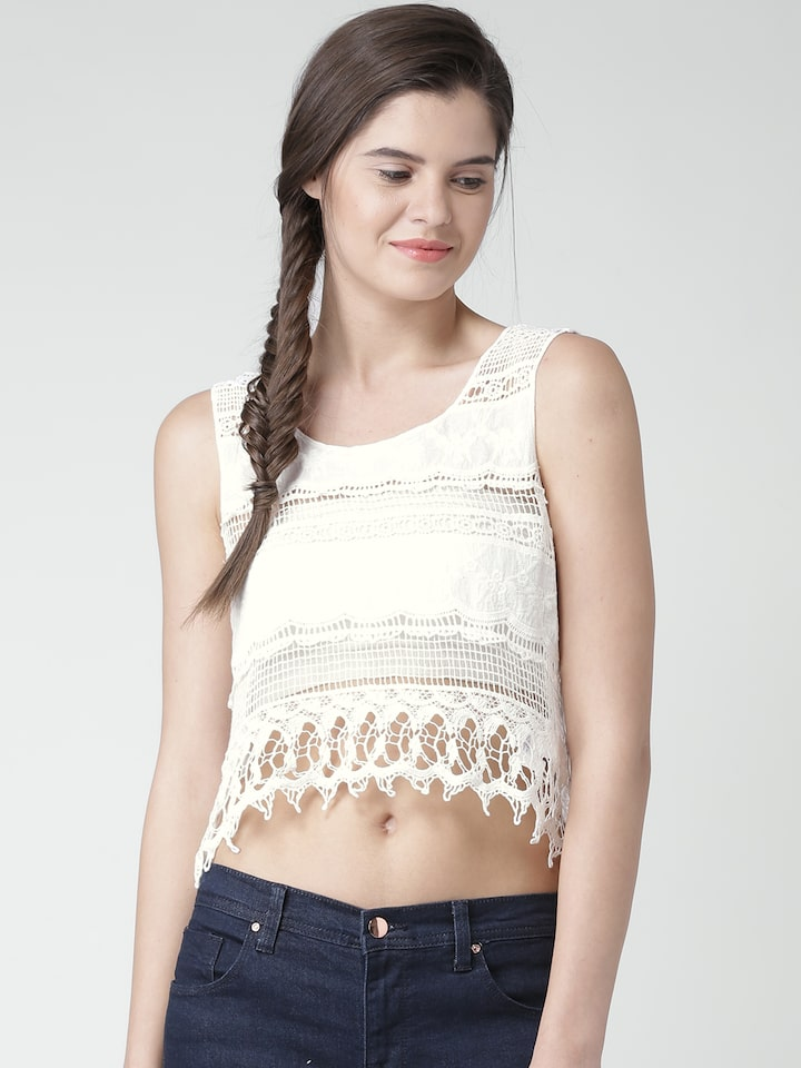 Buy Forever 21 White Crochet Crop Top Tops For Women 1104064 Myntra