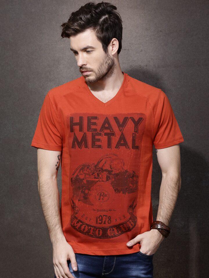 c0553be99 Buy Roadster Men Rust Orange Printed V Neck T Shirt - Tshirts for Men  1490655