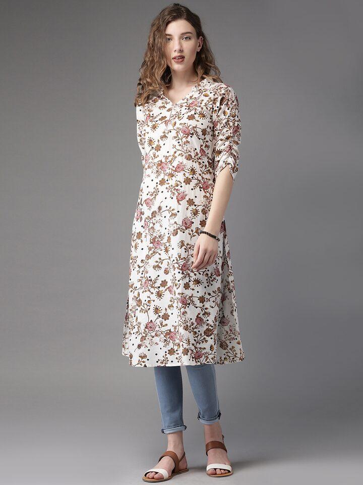 39f631c4c Buy Moda Rapido Women Off White   Brown Floral Print A Line Kurta - Kurtas  for Women 1723530