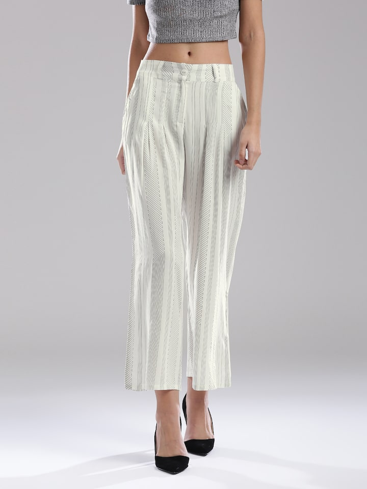 c5c30156947df Buy W White & Black Printed Pleated Ankle Length Palazzo Trousers - Palazzos  for Women 1740049 | Myntra