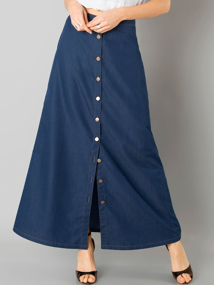 cc292dd0b2 Buy FabAlley Blue Denim Maxi Skirt - Skirts for Women 1822546 | Myntra