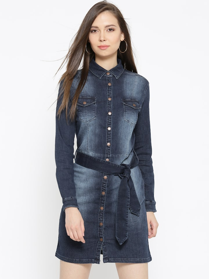 55ae33e6f4 Buy Pepe Jeans Women Blue Washed Denim Shirt Dress - Dresses for Women  2137497