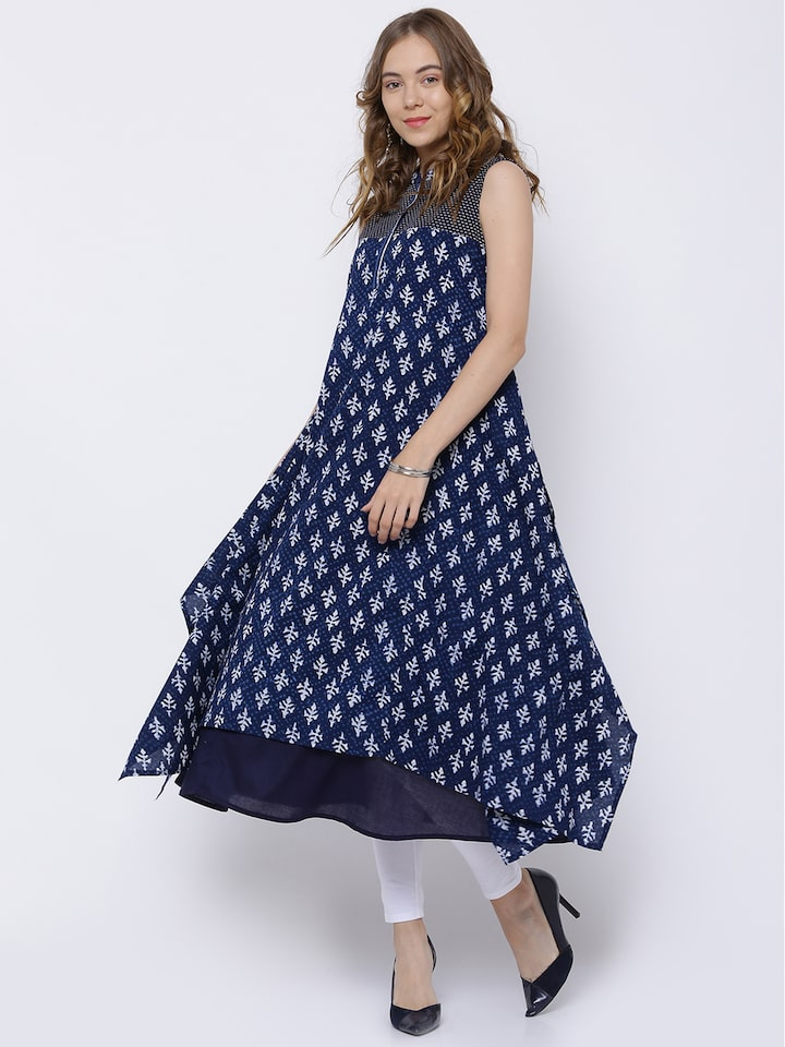 6bc2a5e10 Buy Vishudh Women Navy Blue   White Printed A Line Kurta - Kurtas for Women  2147601