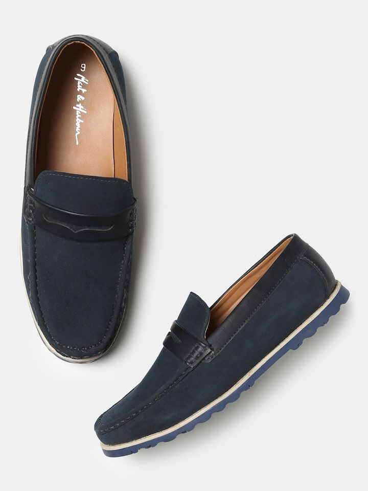 2449b3fad81bb Buy Mast & Harbour Men Navy Blue Penny Loafers - Casual Shoes for Men  2164956 | Myntra