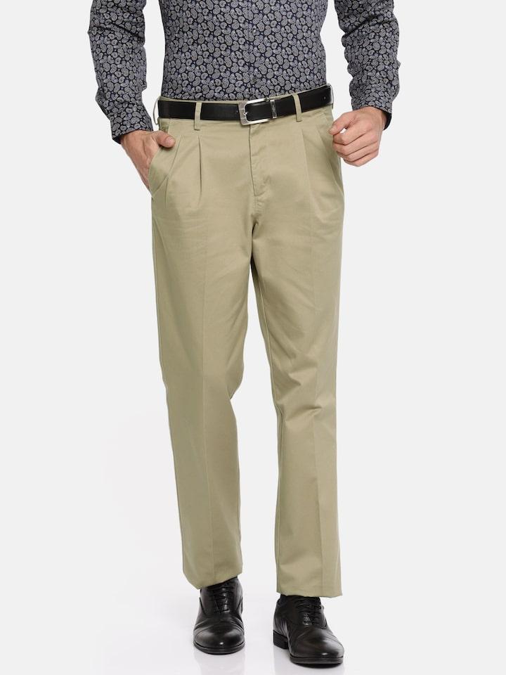 Van Heusen Men Khaki Custom Regular Fit Solid Trousers