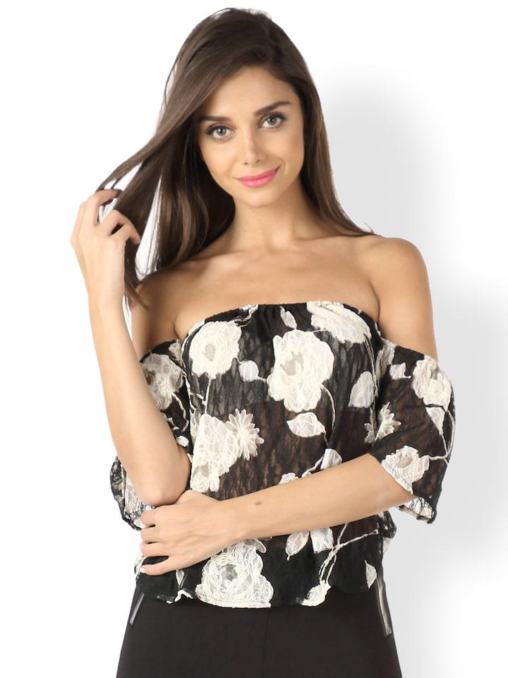 9b789aaee70e4e Buy Mojo Women Black & White Printed Sheer Off Shoulder Top - Tops for  Women 809215 | Myntra