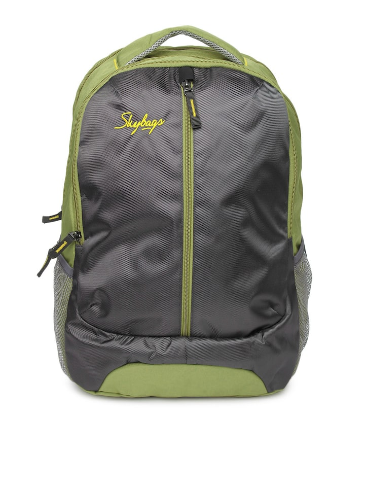 f57348975f80b7 Buy Skybags Unisex Grey & Green Backpack With Rain Cover - Backpacks for  Unisex 256147 | Myntra