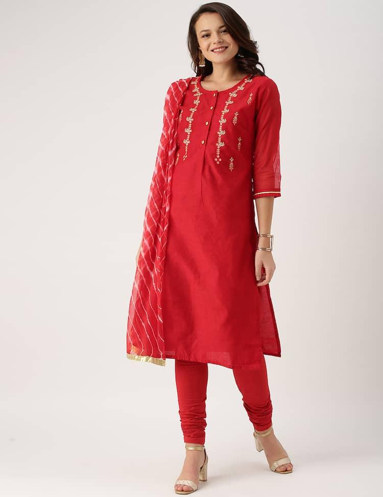 06004cb39e2b0 IMARA Women Red Embroidered Kurta with Churidar & Dupatta