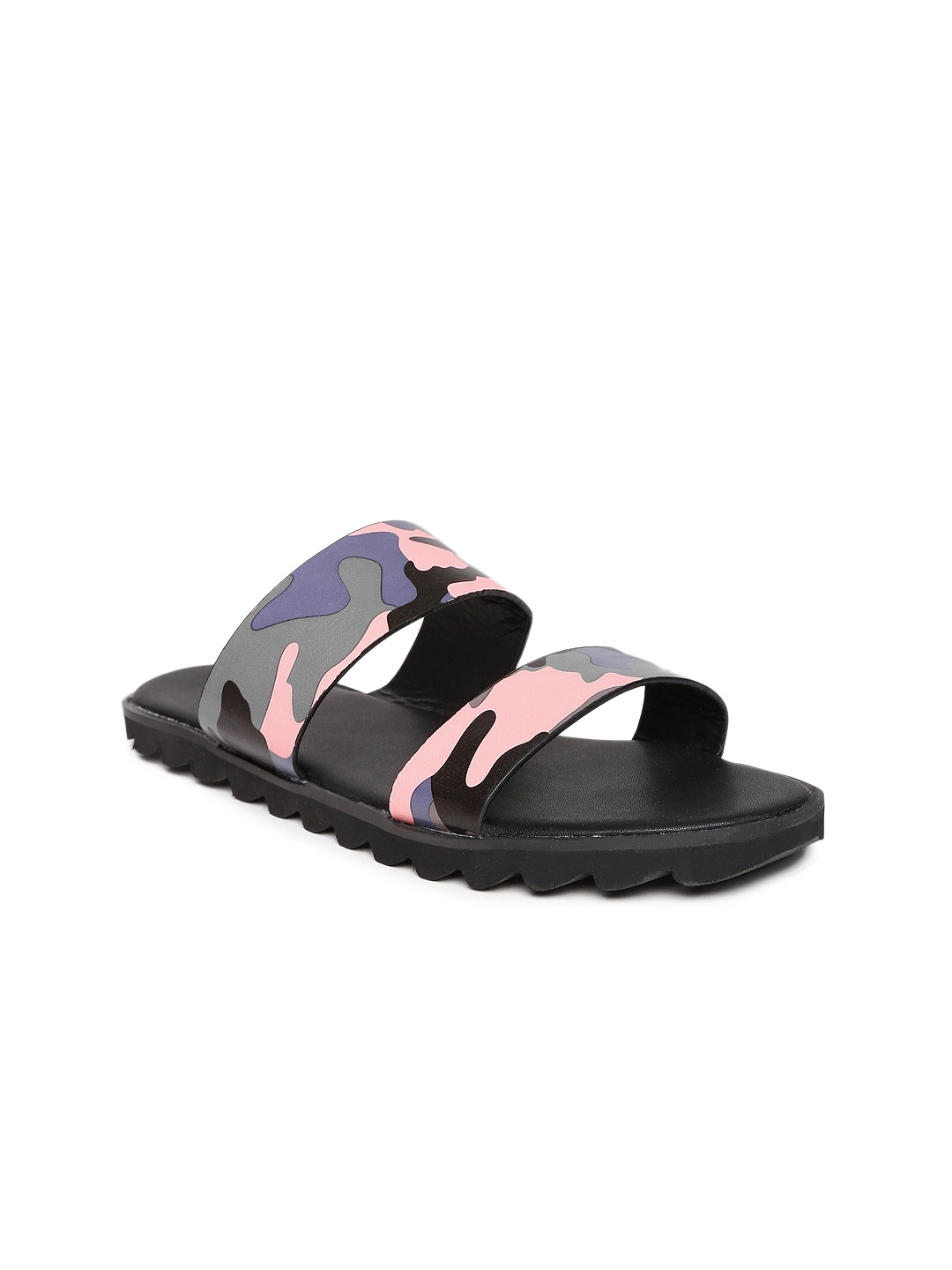 Marie Claire Women Pink & Grey Camouflage Print Flats image