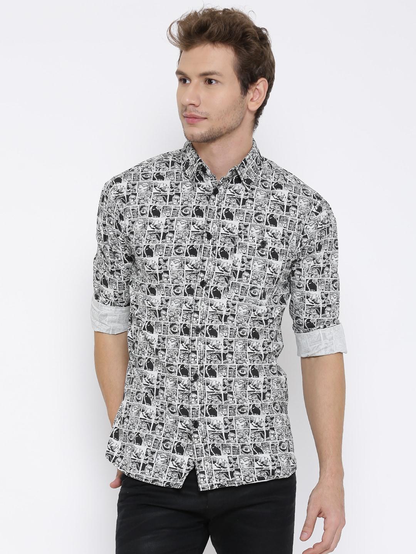 Jack & Jones Off-White & Black Phantom Print Casual Shirt image