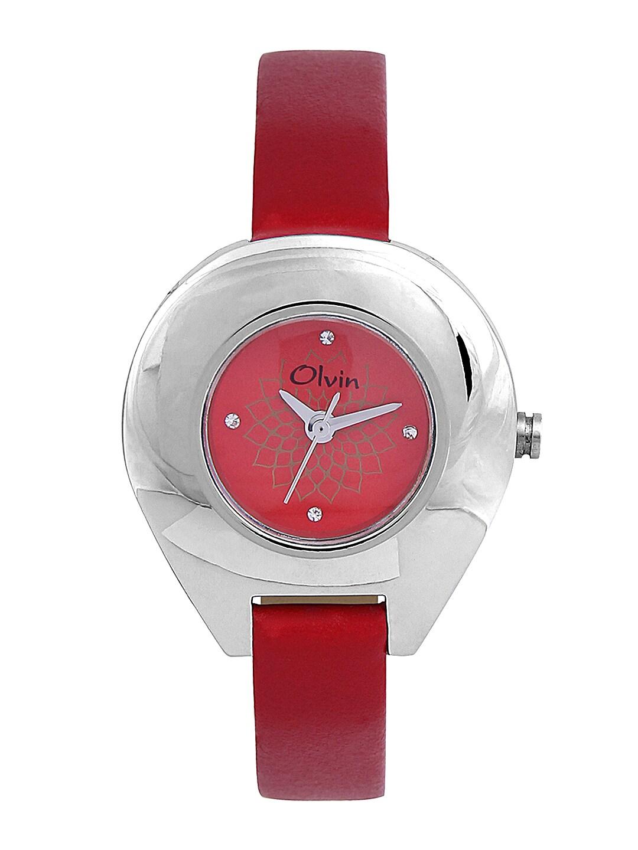 Olvin Women Red Dial Watch 1636-SL07 image