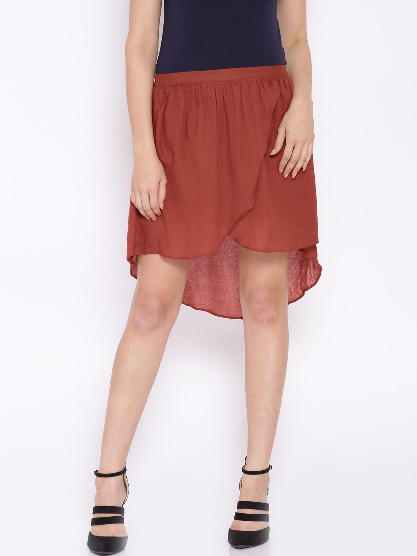 Ginger by Lifestyle Rust Orange Flared Skirt image