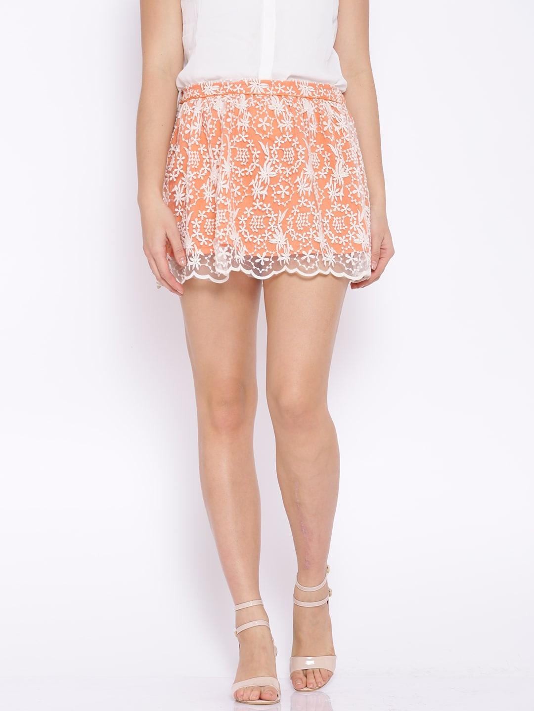 Ginger by Lifestyle Coral Orange Summer Florals Skirt image