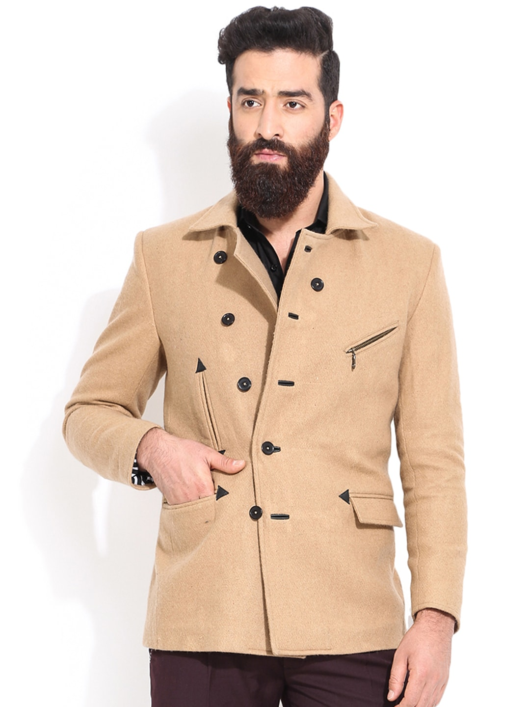 MR BUTTON Beige Slim Fit Tailored Jacket image