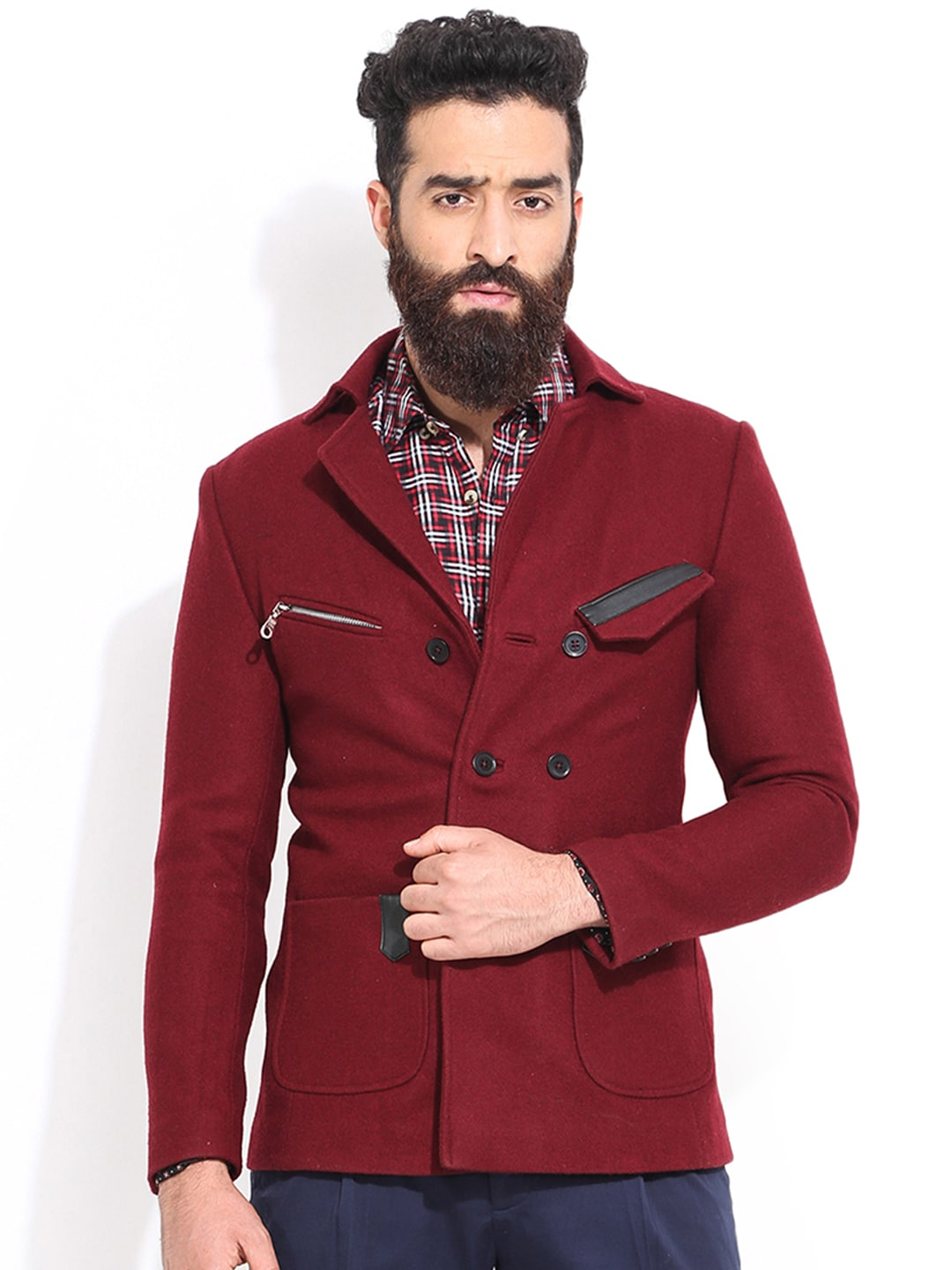 MR BUTTON Maroon Slim Fit Tailored Jacket image