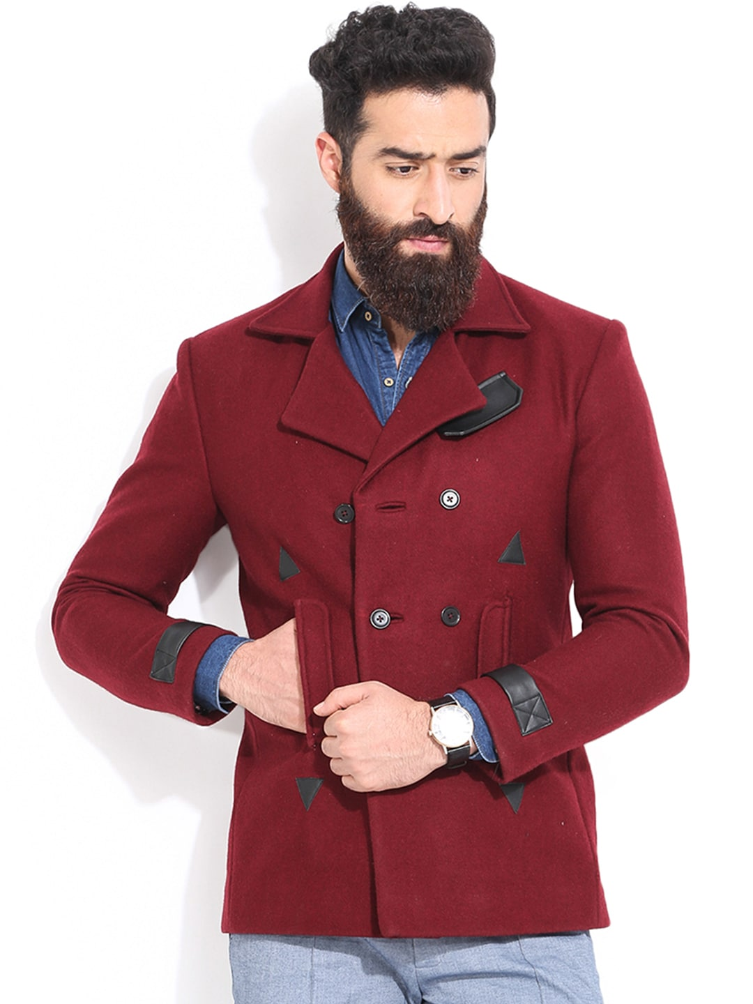 MR BUTTON Maroon Double-Breasted Tailored Jacket image