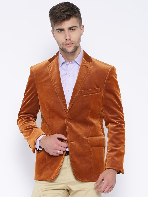 Theme Rust Orange Single-Breasted Slim Corduroy Blazer image