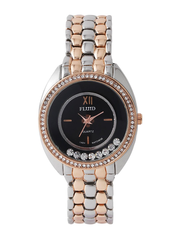 FLUID Women Black Embellished Dial Watch FL-402-BK