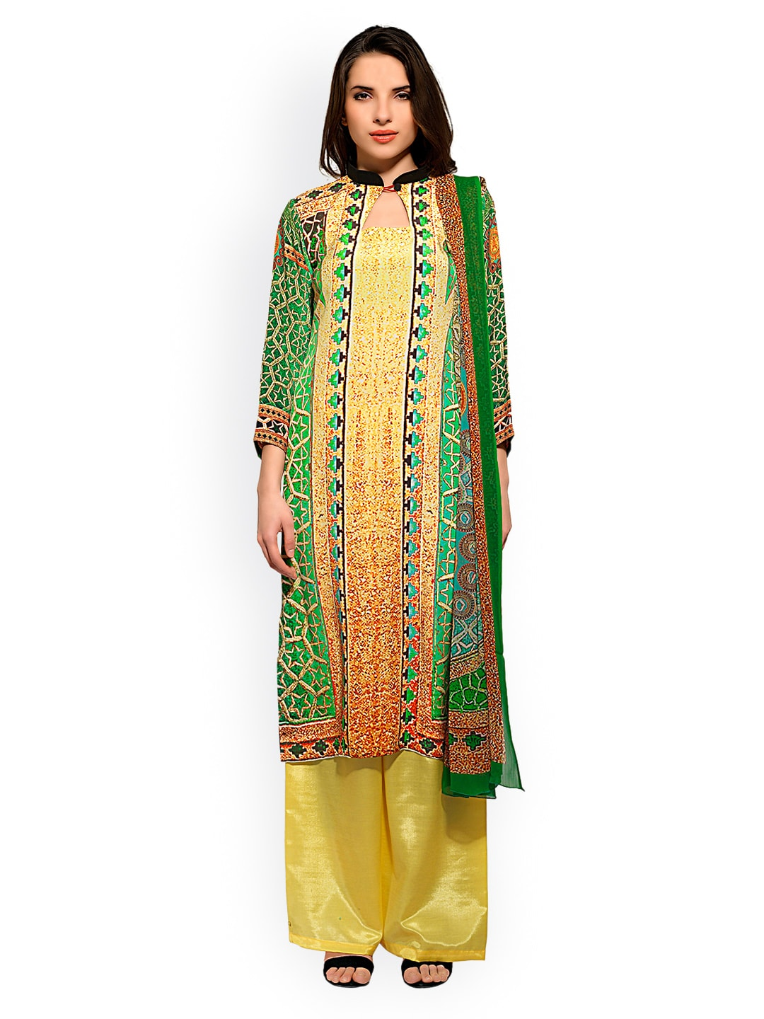 Bhelpuri Green & Yellow Printed Crepe Unstitched Dress Material image