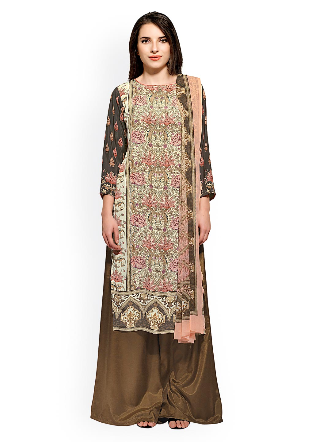 Bhelpuri Brown Printed Crepe Unstitched Dress Material image