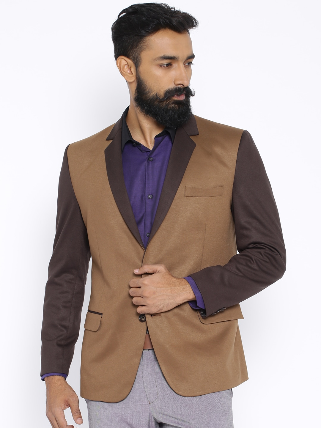 Four One Oh Brown Slim Fit Single-Breasted Formal Blazer image