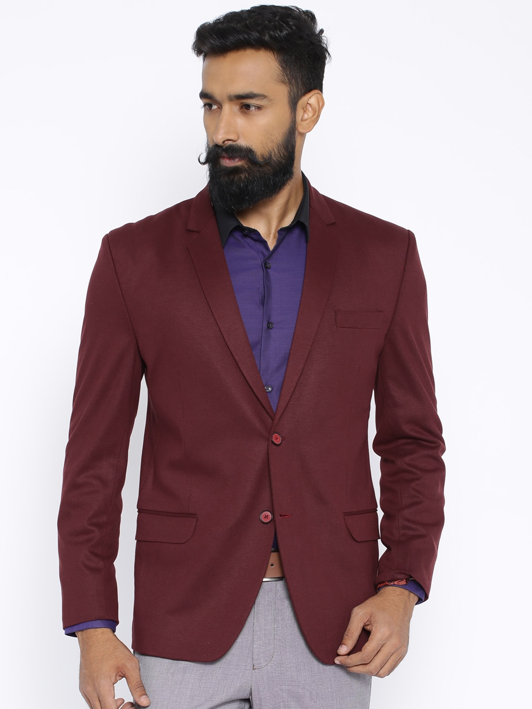 Four One Oh Maroon Slim Fit Single-Breasted Blazer image