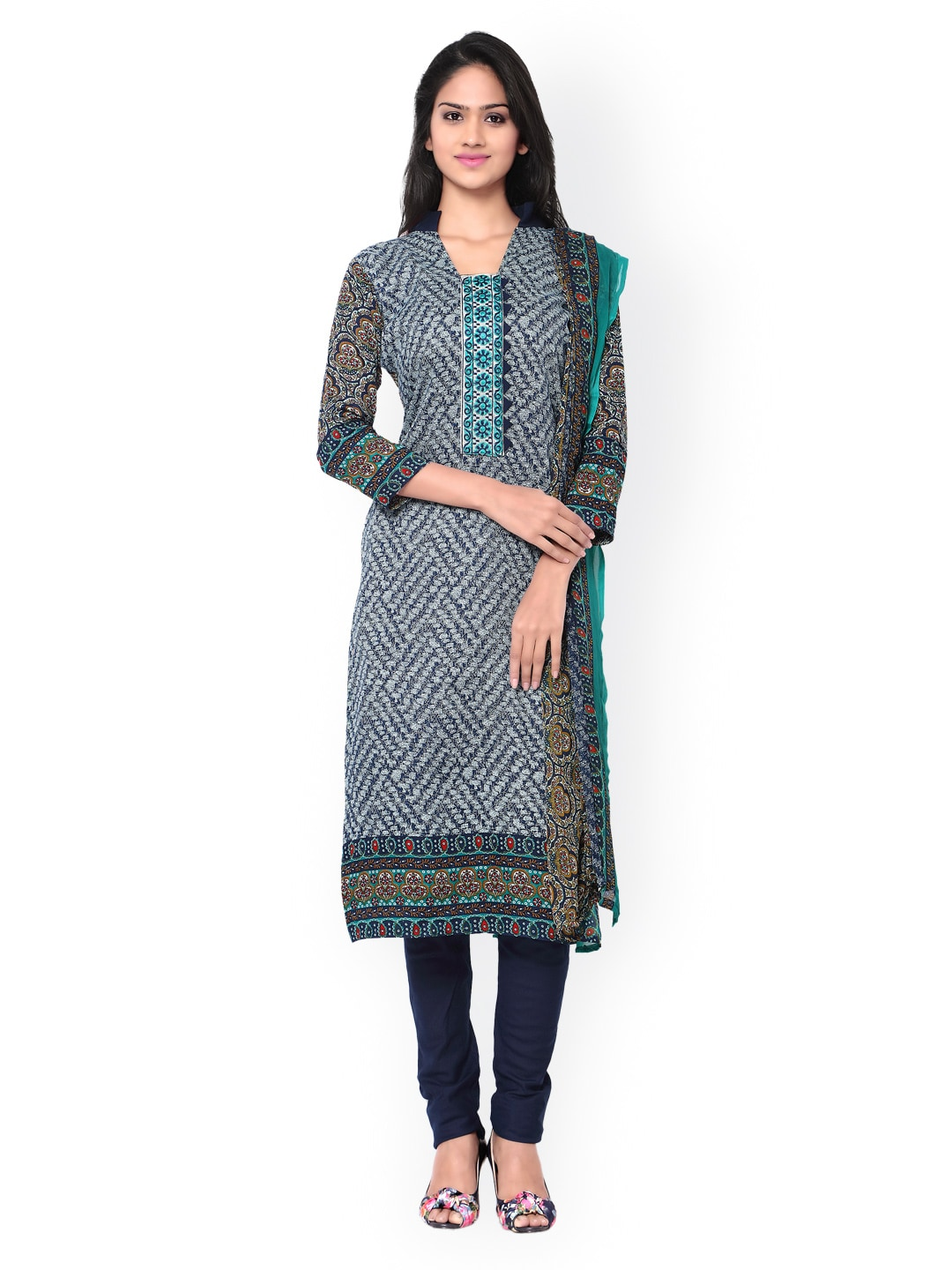 Inddus Navy Printed Cotton Unstitched Dress Material image