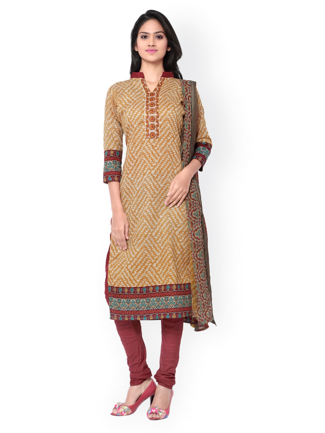 Inddus Mustard Yellow & Maroon Printed Cotton Unstitched Dress Material image