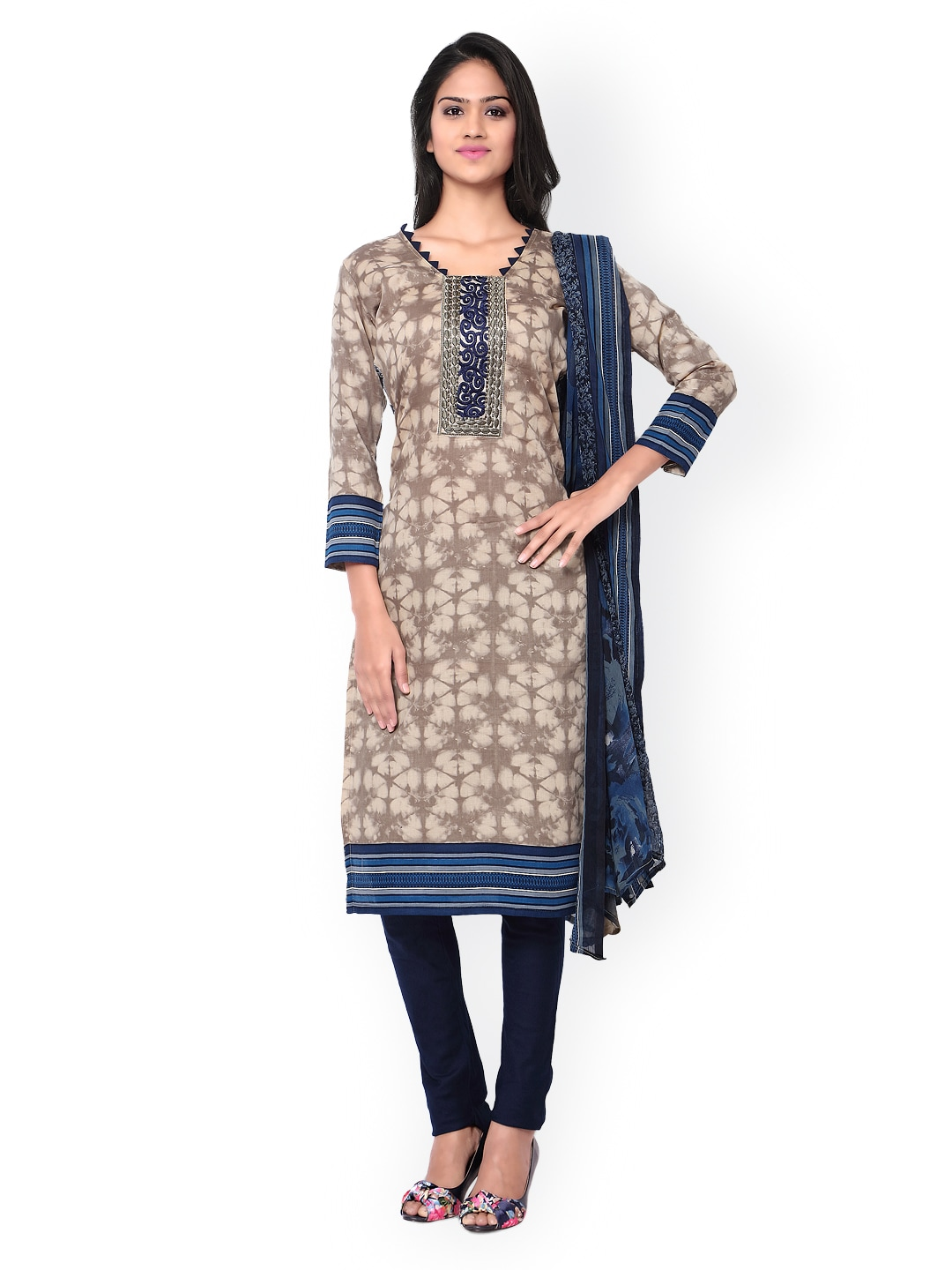 Inddus Cream-Coloured & Blue Tie-Dyed Cotton Unstitched Dress Material image