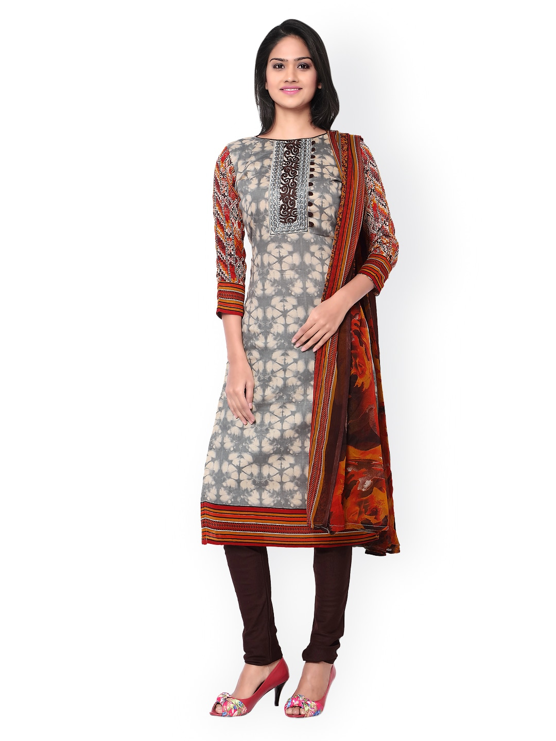 Inddus Cream-Coloured & Brown Tie-Dyed Cotton Unstitched Dress Material image
